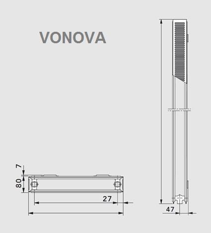 Calorifer Vertical Vogel&Noot Vonova K20 x 1600 x 500