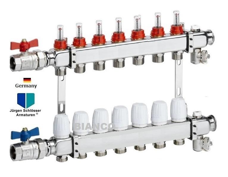 Distribuitor din inox 1 x 7 cai cu debitmetre si ventile termostatice