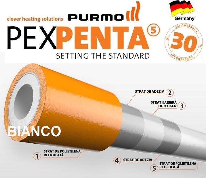 Teava Purmo PEX-PENTA cu bariera de oxigen 16 mm - colac 600 m
