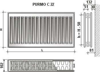 Calorifer din otel Purmo C 22/450/1200