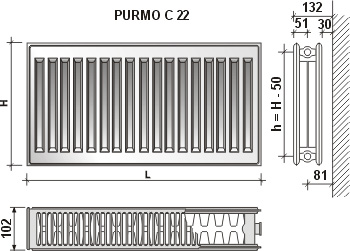Calorifer din otel Purmo C 22/450/1000