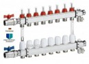 Distribuitor din inox 1 x 8 cai cu debitmetre si ventile termostatice