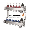 Distribuitor 5 circuite din inox cu debitmetre si robineti termostatati