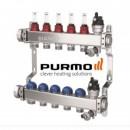 Distribuitor 11 circuite din inox cu debitmetre si robineti termostatati