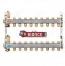 Distribuitor din inox cu 9 circuite tur - retur pentru calorifere
